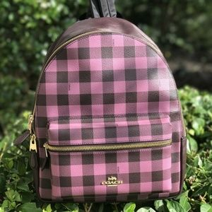 Coach Gingham MD Primrose Leather PVC Backpack